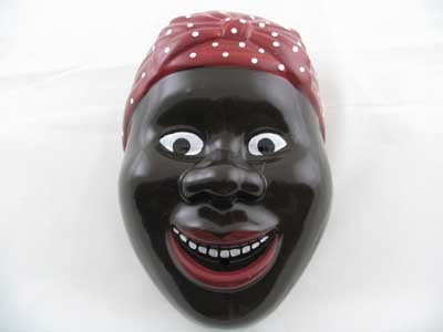 PORCELAIN, BLACK AMERICANA MAMMY STRING HOLDER