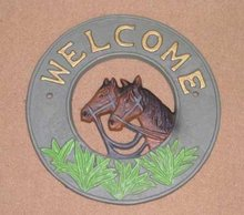 CAST IRON HORSE WELCOME SIGN H