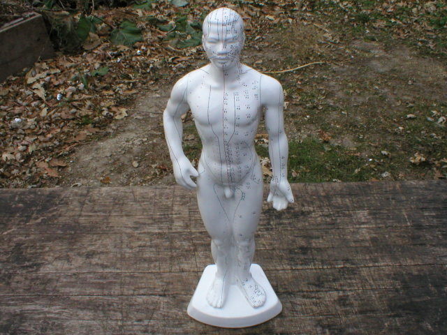 PORCELAIN ACUPUNCTURE MAN STATUE UNIQUE DECOR A