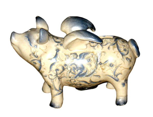 HAND PAINTED PORCELAIN DECORATIVE FLYING PIG BANK F