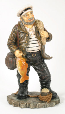 RESIN FISHERMAN STATUE NAUTICAL ROOM DECOR F