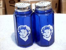 SHIRLEY TEMPLE COBALT SALT PEPPER SHAKERS ONE SET