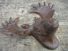 MOOSE HEAD WALL HANGER CAST IRON
