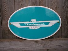 THUNDERBIRD PORCELAIN OVERLAY SIGN METAL CAR AUTO SIGNS T