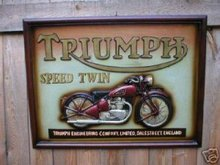 VINTAGE LOOK TRIUMPH WOOD SIGN BIKER BAR PUB ADV SIGNS