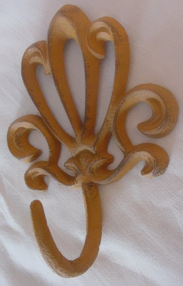 TWO CAST IRON FRENCH STYLE RUSTIC WALL HOOKS F