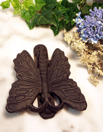 CAST IRON BUTTERFLY DOOR KNOCKER HOME GARDEN DECOR B