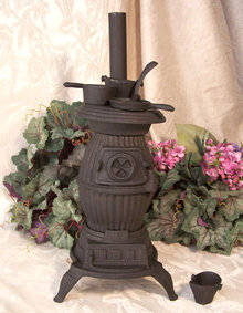 POT BELLY BLACK CAST IRON STOVE IRONWARE DECOR P