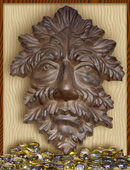 LEAF MAN WALL HANGER PLAQUE YARD ART FENCE GATE FLOWER GARDEN DECOR CAST IRON