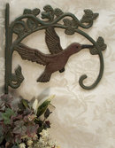CAST IRON RUSTIC HUMMINGBIRD PLANT HOLDER H
