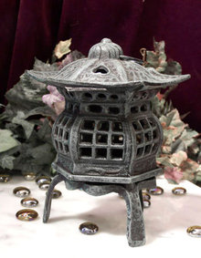 CAST IRON FOOTED PAGODA LANTERN IRONWARE DECOR P