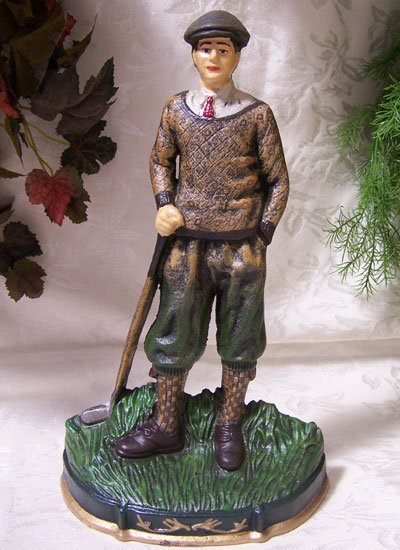 CAST IRON GOLFER DOORSTOP IRONWARE DECOR G