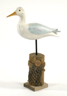 WOOD SEAGULL SHOREBIRD HOME OFFICE DECOR