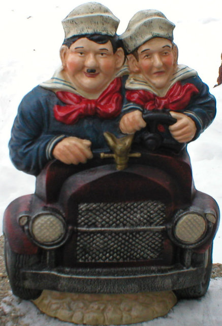 CAST IRON LAUREL AND HARDY DOORSTOP