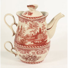 PORCELAIN RED TEA FOR ONE SET VICTORIAN DECOR