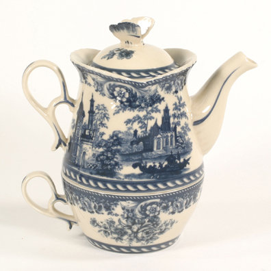 PORCELAIN BLUE TEA FOR ONE SET VICTORIAN DECOR