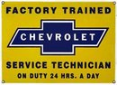 CHEVROLET SERVICE TECHNICIAN PORCELAIN-COATED SIGN