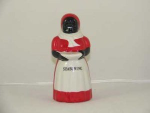 PORCELAIN RED WHITE MAMMY SPICE SHAKER