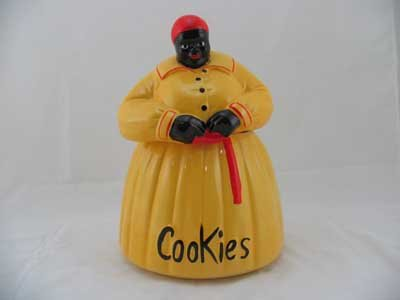 PORCELAIN HAND PAINTED YELLOW MAMMY COOKIE JAR