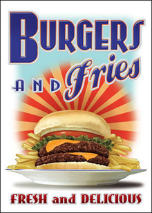 BURGERS & FRIES TIN SIGN METAL ADV SIGNS B