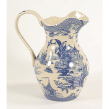 PORCELAIN BLUE WHITE ASIAN INSPIRED WATER PITCHER