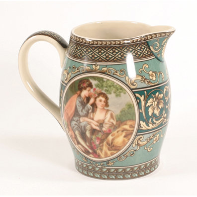 PORCELAIN VICTORIAN STYLE COLORFUL SCENE PITCHER