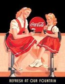 COKE REFRESH FOUNTAIN SIGN METAL RETRO ADV SIGNS