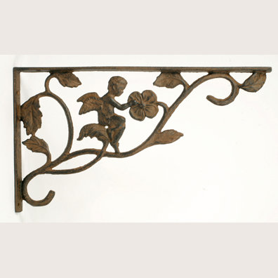 ONE PAIR CAST IRON RUSTIC ANGEL WALL BRACKETS