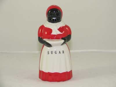 BLACK AMERICANA PORCELAIN HAND PAINTED MAMMY SUGAR SHAKER