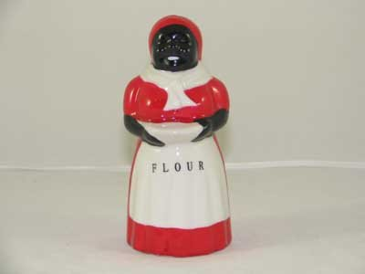 BLACK AMERICANA PORCELAIN HAND PAINTED MAMMY FLOUR SHAKER