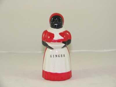 BLACK AMERICA PORCELAIN HAND PAINTED MAMMY GINGER SHAKER