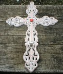 CAST IRON WHITE CROSS HOME GARDEN DECOR C
