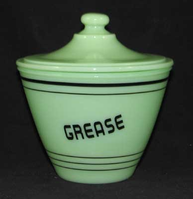 JADE JADITE JADEITE GREASE JAR BLACK LETTERING