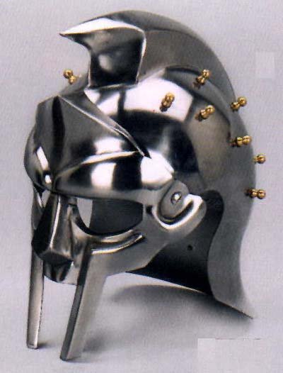 SILVER GLADIATORS HELMET GOLD ACCENTS G