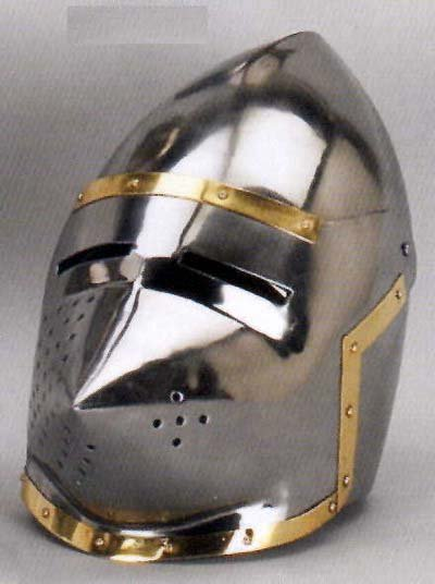 SILVER METAL KNIGHT PIG FACE HELMET GOLD TRIM K