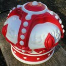 RED CROWN GASOLINE PAINTED MILK GLASS GAS PUMP GLOBE