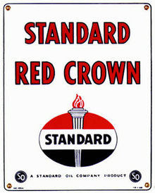 STANDARD OIL RED CROWN GAS PUMP ADV SIGN S