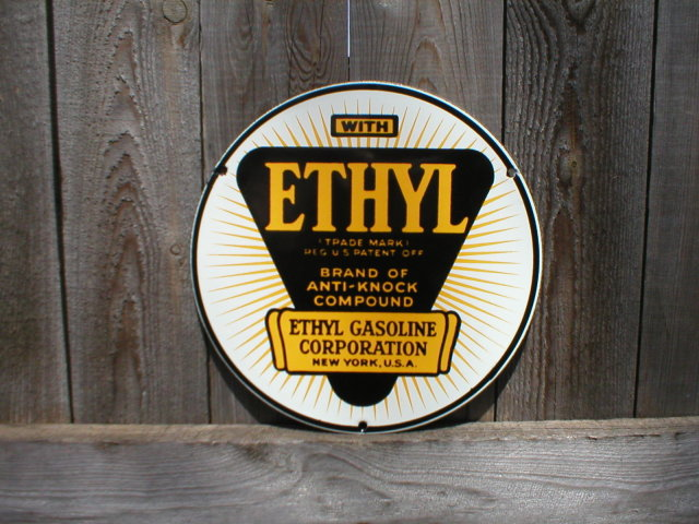 ETHYL ANTI-KNOCK COMPOUND PORCELAIN-COATED SIGN E
