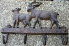 DEER FOUR-HOOK COAT RACK CAST IRON WALL HANGER