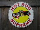 HOT ROD SUPREME PORCELAIN-COAT SIGN METAL AUTO SIGNS H