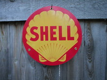 SHELL BAKED ENAMEL HEAVY METAL SIGN