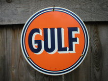 GULF PORCELAIN-COAT SIGN METAL GASOLINE SIGNS S