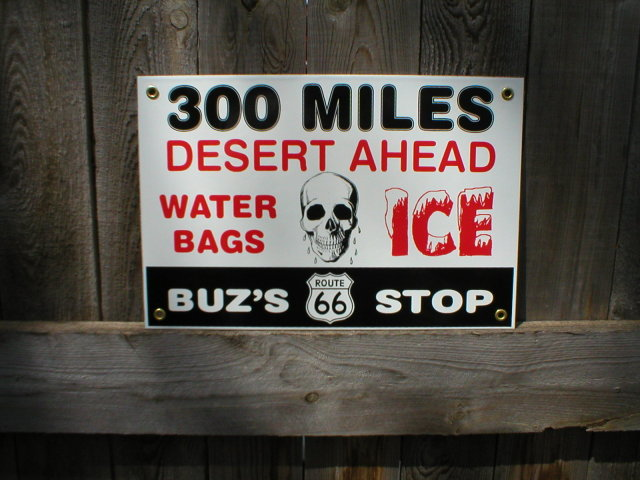 BUZ'S STOP PORCELAIN COATED SIGN