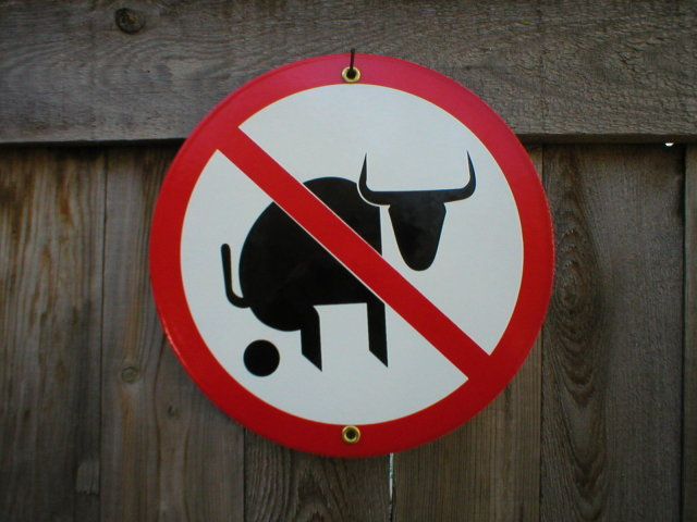 NO BULL PORCELAIN-COATED SIGN B
