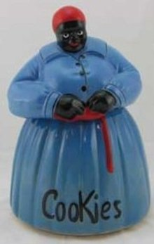 MAMMY COOKIE JAR HAND PAINTED BLUE
