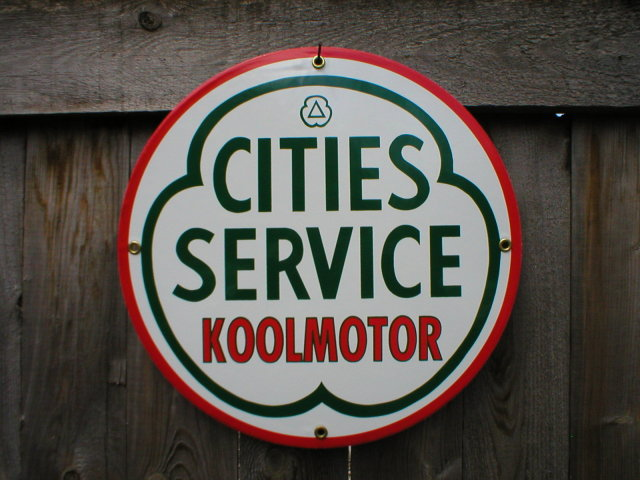 CITIES SERVICE PORCELAIN-COATED SIGN