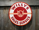 WILLYS PORCELAIN COATED SIGN