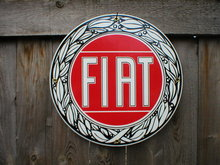 FIAT PORCELAIN COATED SIGN