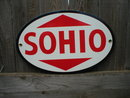 OVAL PORCELAIN COATED SOHIO PARTS SIGN