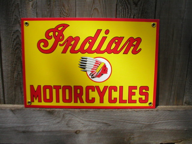 INDIAN MOTORCYCLES PORCELAIN COATED SIGN